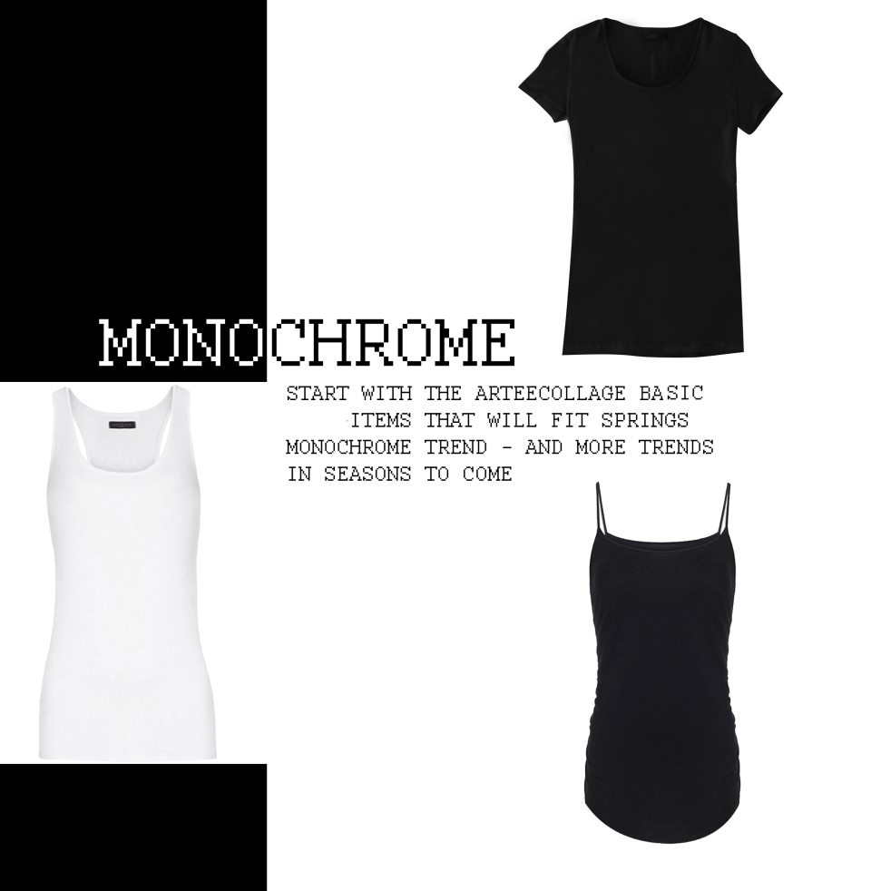 Women's arteecollage black and white t-shirt tank crew