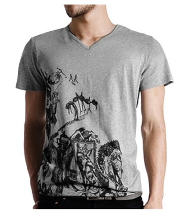 Men's graphic arteecolllage grey tattoo print tee